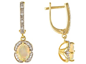 Pre-Owned White Ethiopian opal 18k yellow gold over silver dangle earrings 1.47ctw