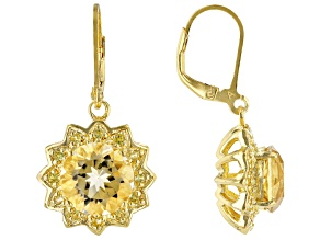 Pre-Owned Yellow Citrine 18k Yellow Gold Over Sterling Silver Earrings 7.20ctw
