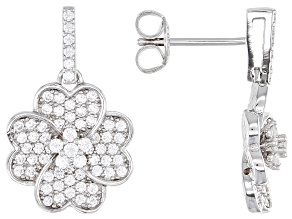 Pre-Owned White Cubic Zirconia Rhodium Over Sterling Silver Flower Earrings 1.32ctw