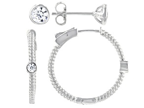 Pre-Owned White Cubic Zirconia Rhodium Over Sterling Silver Hoop And Stud Earring Set 1.94ctw