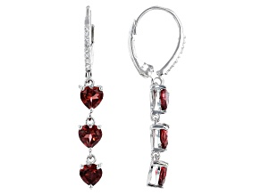 Pre-Owned Red Garnet Rhodium Over Silver Earrings 2.59ctw