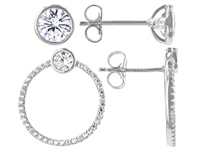 Pre-Owned White Cubic Zirconia Rhodium Over Sterling Silver Earring Set 4.26ctw