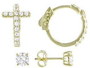 Pre-Owned White Cubic Zirconia 18K Yellow Gold Over Sterling Silver Cross Hoop And Stud Earring Set