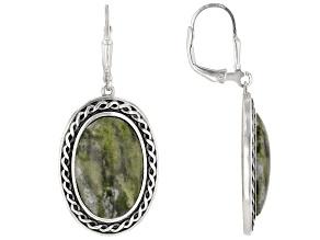 Pre-Owned Connemara Marble Sterling Silver Shield Earrings