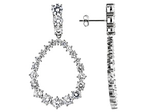 Pre-Owned White Cubic Zirconia Rhodium Over Sterling Silver Earrings 12.20ctw