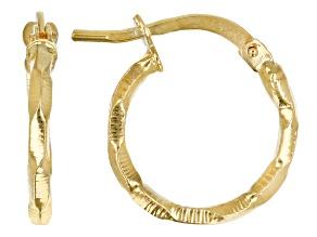 Pre-Owned 10K Yellow Gold Diamond Cut 3D Earrings