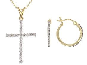 Pre-Owned White Diamond 10k Yellow Gold Hoop Earrings and Cross Pendant With Chain 0.45ctw