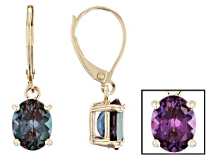 Pre-Owned Lab Created Alexandrite 10k Yellow Gold Earrings 4.20ctw