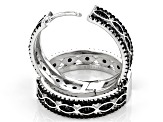 Pre-Owned Black spinel Rhodium Over Sterling Silver Hoop Earrings 4.43ctw
