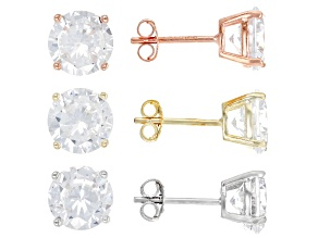 Pre-Owned White Cubic Zirconia Rhodium Over Silver And 18k Yellow And Rose Gold Over Silver Earrings