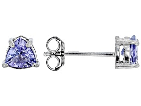 Pre-Owned Blue tanzanite rhodium over sterling silver stud earrings .68ctw