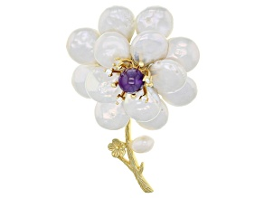 Pre-Owned Cultured Freshwater Pearl With Cubic Zirconia, Amethyst 18k Yellow Gold Over Silver Pin/Pe