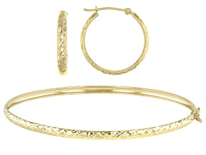 Pre-Owned 10k Yellow Gold Hoops and Bracelet Set