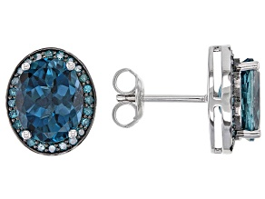 Pre-Owned London Blue Topaz Rhodium Over Silver Stud Earrings 5.75ctw
