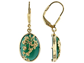 Pre-Owned Green onyx 18k gold over silver earrings