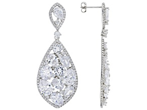 Pre-Owned White Cubic Zirconia Rhodium Over Sterling Silver Earrings 40.00ctw