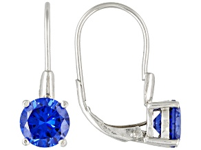 Pre-Owned 4.50ctw Blue Cubic Zirconia Rhodium Over Sterling Silver Earrings