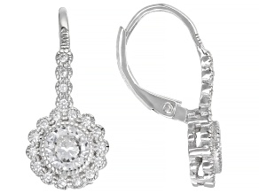 Pre-Owned White Cubic Zirconia Rhodium Over Sterling Silver Earrings 1.94ctw