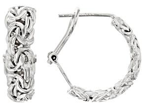 Pre-Owned Rhodium Over Sterling Silver Byzantine Hoop Earrings