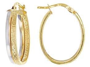 Pre-Owned 10K Bicolor Greek Oval Earrings