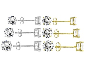 Pre-Owned White Cubic Zirconia Rhodium And 18K Yellow Gold Over Sterling Silver Stud Earring Set of