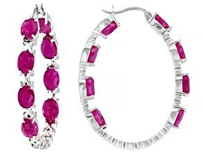 Pre-Owned Burma Ruby Rhodium Over Sterling Silver Hoop Earrings 10ctw