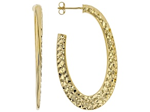 Pre-Owned MODA AL MASSIMO™ 18K Yellow Gold Over Bronze Hammered Oval Hoop Earrings