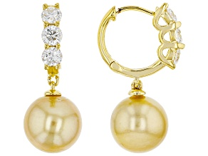 Pre-Owned Cultured Golden South Sea Pearl And Moissanite Fire® 0.84ctw Dew 18k Gold Over Silver Earr