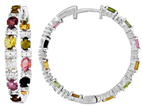 Pre-Owned Multi Tourmaline Sterling Silver Hoop Earrings 3.25ctw