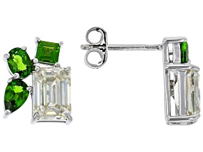 Pre-Owned  Fabulite Strontium Titanate and chrome diopside rhodium over sterling silver earrings 3.5