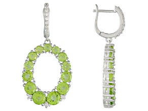 Pre-Owned Green Peridot And White Zircon Sterling Silver Earrings 7.69ctw