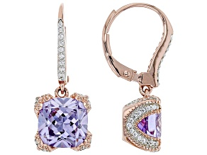 Pre-Owned Lavender And White Cubic Zirconia 18k Rose Gold Over Sterling Silver Earrings 7.83ctw