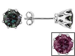 Pre-Owned Color Change Lab Created Alexandrite Rhodium Over Sterling Silver Stud Earrings 1.70ctw
