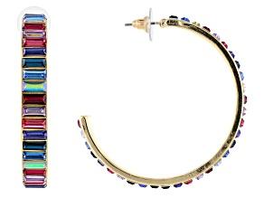 Pre-Owned Gold Tone Multi-Color Crystal Hoop Earrings