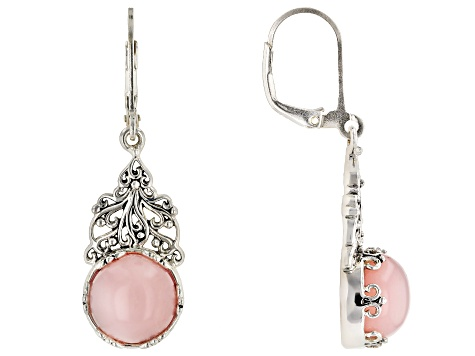 Pre-Owned Pink Peruvian opal rhodium over silver dangle earrings