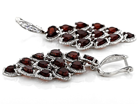 Pre-Owned Red Garnet Rhodium Over Silver Chandelier Earrings 7.39ctw