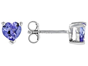 Pre-Owned Blue Tanzanite Rhodium Over Sterling Silver Earrings .71ctw