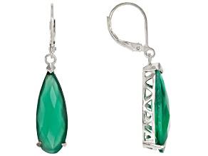 Pre-Owned Green Onyx Rhodium Over Sterling Silver Teardrop Earrings