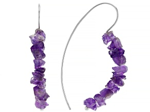 Pre-Owned Purple amethyst rough rhodium over sterling silver earrings