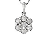 Pre-Owned White Diamond Rhodium Over Sterling Silver Cluster Earring And Pendant Jewelry Set 0.50ctw