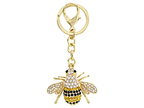 Pre-Owned Multi-color Crystal Gold Tone Bee KeyChain