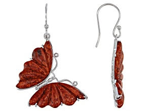 Pre-Owned Red Sponge Coral Rhodium Over Sterling Silver Butterfly Earrings