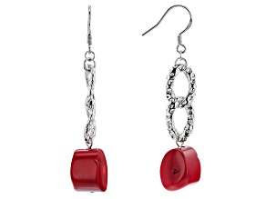Pre-Owned Red Sponge Coral Rhodium Over Silver Earrings