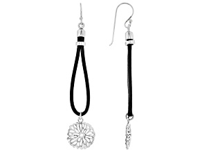 Pre-Owned Rhodium Over Silver Flower Design With Imitation Leather Cord Dangle Earrings