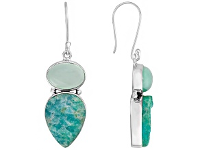 Pre-Owned Blue Amazonite Two-Stone Earrings