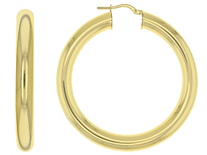 Pre-Owned 18k Yellow Gold Over Bronze Hoop Earrings