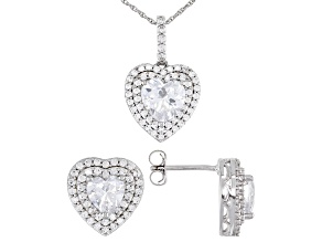 Pre-Owned White Cubic Zirconia Rhodium Over Sterling Silver Earrings And Pendant With Chain 5.73ctw