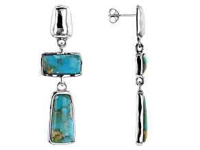 Pre-Owned Blue Turquoise in Matrix Rhodium Over Silver Earrings