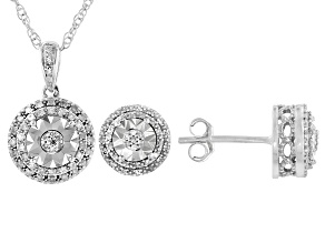 Pre-Owned White Diamond Rhodium Over Sterling Silver Pendant & Earring Jewelry Set 0.20ctw