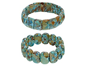 Pre-Owned Multi Color Turquoise With Matrix 2 Stretch Bracelets Set